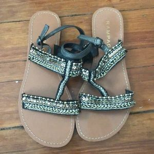 Black and Gold Gladiator Sandals